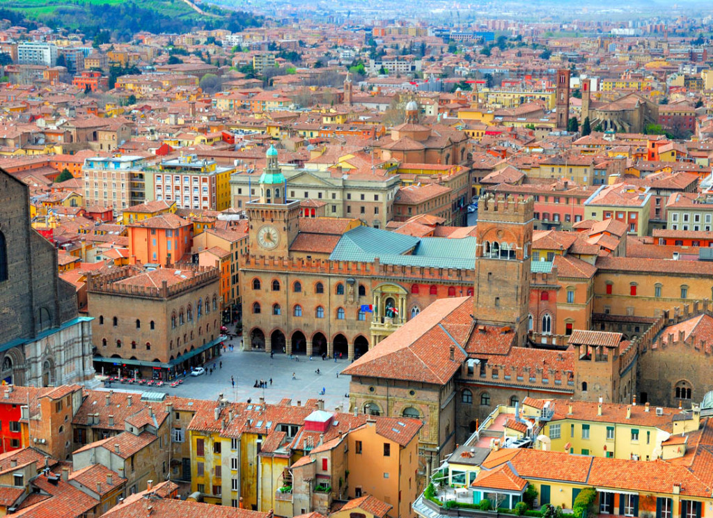 Italy, Bologna main square aerial view from Asinelli tower