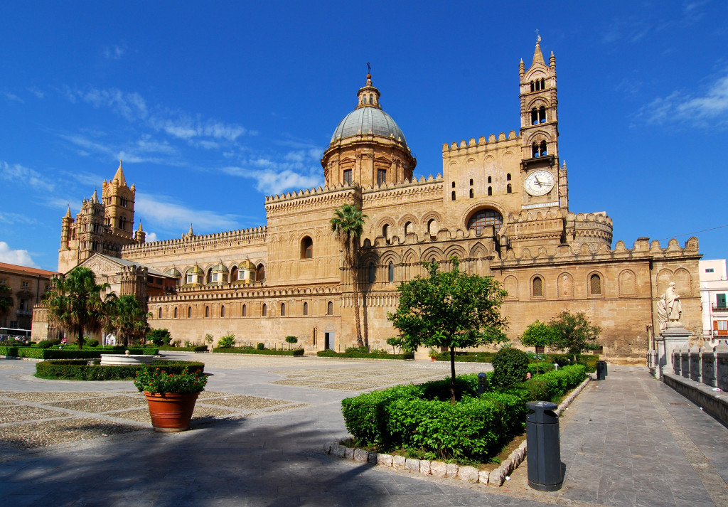 The Cathedral of Palermo is an architectural complex in Palermo (Sicily, Italy). The church was erected in 1185 by Walter Ophamil (or Walter of the Mill), the Anglo-Norman archbishop of Palermo and King William II's minister, on the area of an earlier Byzantine basilica.